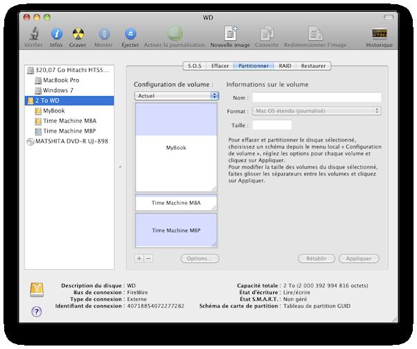Les 3 partitions du disque dur externe.