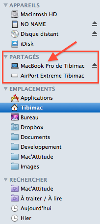 Le MacBook Pro apparait dans le Finder du Macbook Air.