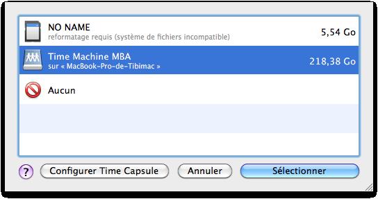 La liste des volumes de sauvegarde disponible pour Time Machine.